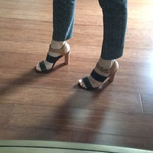 Coach Color Block heel sandal Black and Tan 8